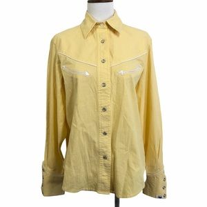 Cruel Girl western snap shirt yellow S